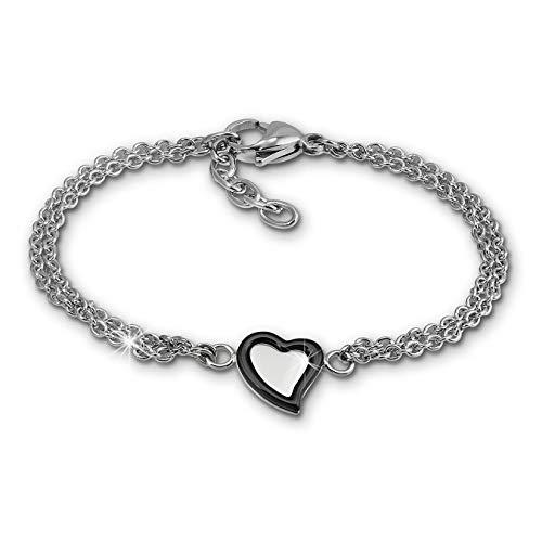Pulsera cerámica corazón negro para mujer Amello joyas modernas en acero inoxidable esax33s8