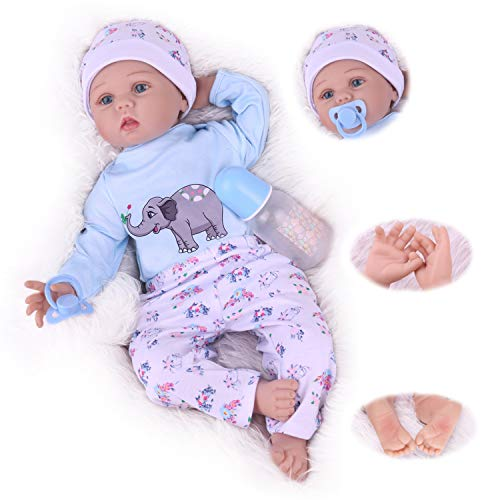 Kaydora Reborn Baby Doll for Boys, 22 inch Vinyl Newborn Doll That Look Real, Lifelike Weighted Toddler Toys Gift Set