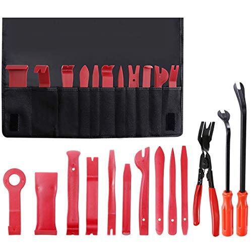 ABREOME Kit d'outils de démontage de garnitures intérieures de voiture avec sac de rangement extra portable, nylon résistant, pour fenêtre de porte de voiture (14 pièces)