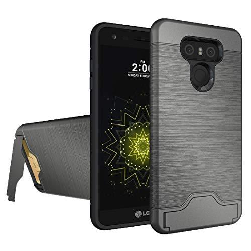 Zhangl Fundas LG For LG G6 Textura cepillada Separable PC TPU combinación de protección Trasera Caso con Soporte y Ranura for Tarjeta Fundas LG (Color : Grey)