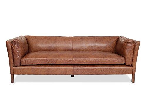 Edloe Finch Finley Sofa - Mid Century Modern Couch - Top Grain Brazilian Leather - Cognac Brown