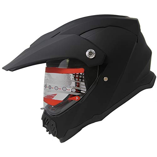 X4 Dual Sport ATV Motocross MX Dirt Bike Off Road Mountain Bike Full Face Motorcycle Helmet M409 (Matt Black, L)