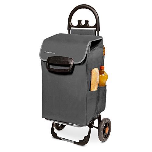 Einkaufstrolley XL Himy Einkaufsroller in grau mit 78L - Trolli Handwagen mit leisen Gummi Rädern bis 50kg inkl. Außentaschen