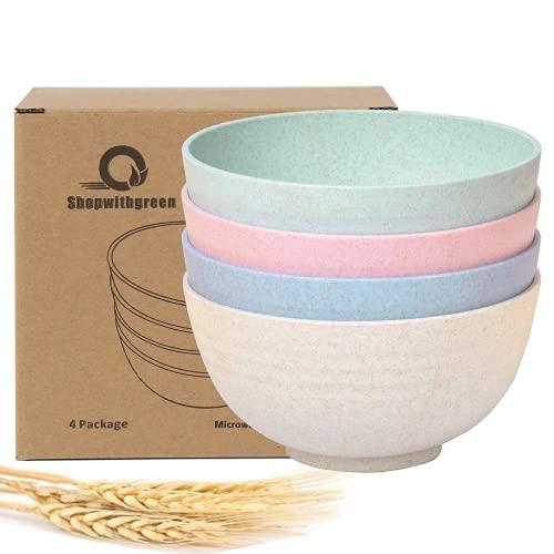 shopwithgreen Unbreakable Large Cereal Bowls - 24 OZ Wheat Straw Fiber Lightweight Bowl Sets 4 - Dishwasher & Microwave Safe - for Cereal, Salad,Soup, Noodle, 4 Pieces (Medium)