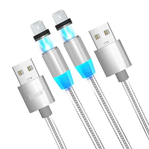 BEISK, 2 Cables Magnéticos, Carga Rápida, Cargador Magnético, 2.4A, Cable Nylon, con Indicador LED, para iPhone 11/XS/XR/8/8 Plus/7/7 Plus/6s/6s Plus/6 Plus/SE/5S/5C/5, iPad, iPod, Etc.