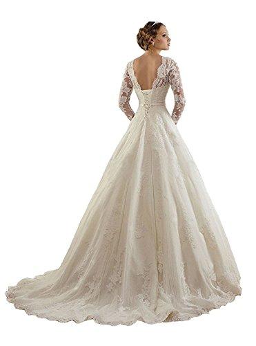 Vestido de novia de manga larga, con encaje y joyas de Lydiags Blanco blanco 48