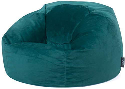 Icon Pouf Classique Milano, Vert Sarcelle, Poufs de Salon, 85cm x 50cm, Pouf Poire Grand, Velours Luxueux, Chaise pour Chambre