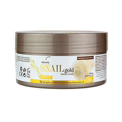 Victoria Beauty – Hautcreme mit Arganöl und Schnecken-Extrakt – Körpercreme gegen trockene Haut für die ganze Familie – spendet intensiv Feuchtigkeit – 200ml