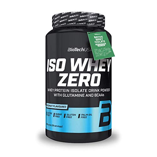 BioTechUSA Iso Whey Zero Premium Whey Protein Isolate with Native Whey Isolate, Added BCAA and glutamine, 908 g, Coconut