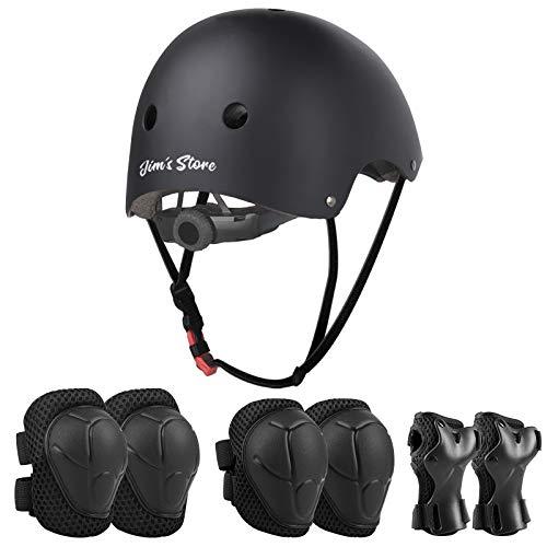 JIM'S STORE Schoner Set Knieschoner Inliner Kinder mit Verstellbaren Helm Protektoren Skateboard Helm Set Fahrrad Schützer Sport Schutzausrüstung (Schwarz)