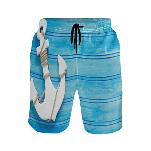Troncos de natación para Hombre Pantalones Cortos de Playa con Ancla Azul náutica Trajes de baño sin Arrugas para SPA de Entrenamiento