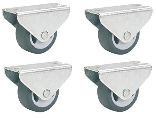 4 Stk. Dörner und Helmer Parkett Bockrolle 30x14 mm TPE-Rad grau, Möbelrolle