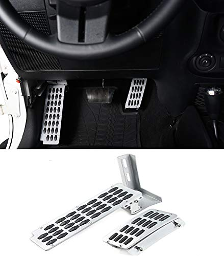 Hooke Road Dead Pedal and Gas Enhancement Extender Combo Kit for Jeep Wrangler JK & Unlimited 2007-2018