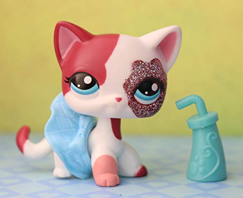 LovePets lps Shorthair Cat 2291, lps Cat Pink and White Blue Eyes with lps Accessories Dress Drink Kids Gift