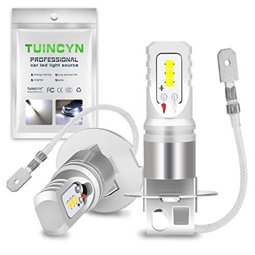 TUINCYN H3 Lampadine fendinebbia a LED 6500K Bianco ad Alta Potenza 80W 1600Lm CSP Chip DRL Lampadina a LED per Luce Diurna DC 12V-24V (Confezione da 2)
