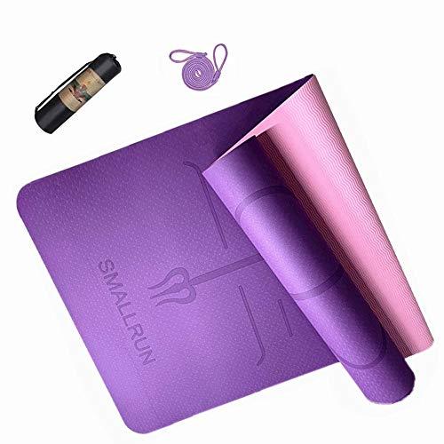 Esterilla Deporte Yoga Pilates Fitness Colchoneta TPE Gimnasia Antideslizante Esterilla yoga con líneas 183x61cm con Funda (Morado)