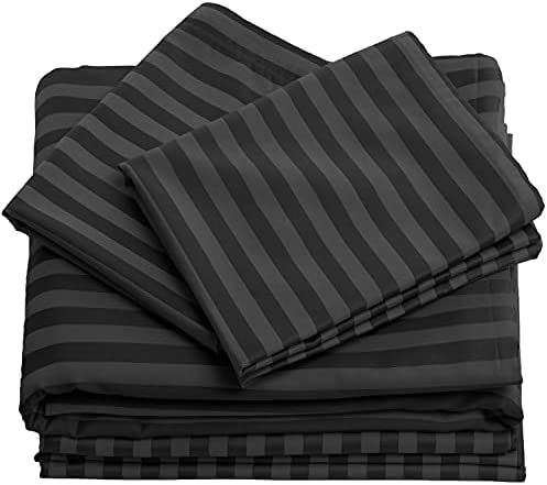 100% Cotton Bed Sheets – 4 Piece Bedding Sheets & Pillowcases – 500 Thread Count Sateen Weave Damask Striped Sheet Set with Deep Pocket up to 16 inch Mattress