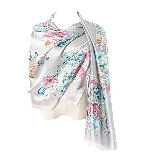 Cyzlann Women's Scarves 100% Silk Long Lightweight Scarfs for Women(grey pink)