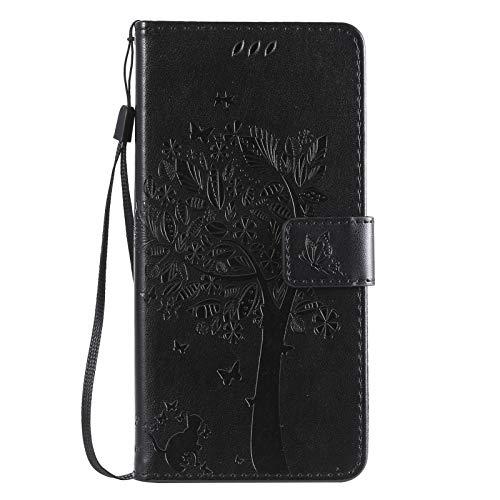 TOPOFU Funda para iPhone 13 Pro, Patrón de Mariposa en Relieve del Gato del Arbol Billetera de Cuero de la PU Flip Magnético Carcasa para iPhone 13 Pro-Negro