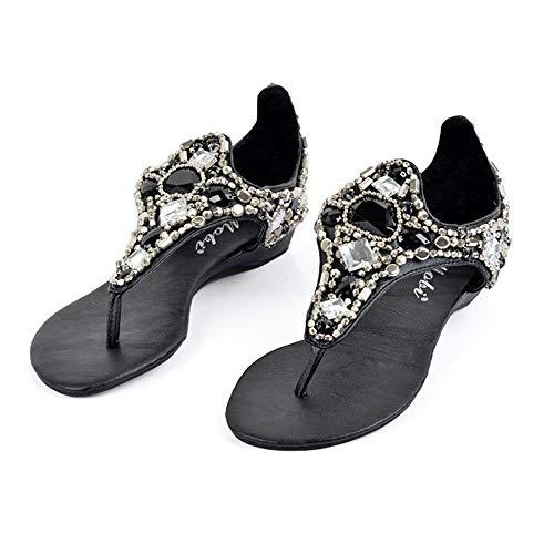 QLBF Sandalias de verano para mujer Casual Cómodas Sandalias for las mujeres cómodo Sandalias de Plataforma en la playa del verano viaje zapatos de los zapatos de las sandalias del Rhinestone mujeres