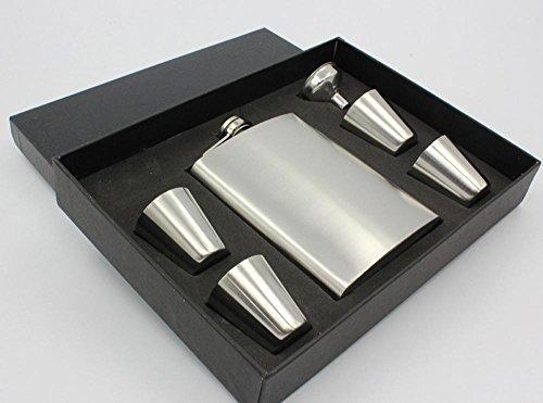 8oz inox Portable Hip Flask Gift Box Set comprend 4 tasses 1 entonnoir et un coffret adapté pour extérieur Noël idées cadeaux pour les ados