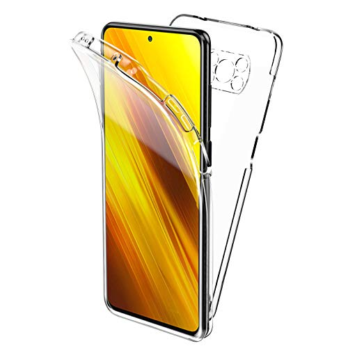 Oududianzi Funda para Xiaomi Poco X3 Pro/Poco X3 NFC, 360 Grados Protección Diseñada, Transparente Ultrafino Silicona TPU Frente y PC Back Carcasa Belleza Original Funda - Transparente
