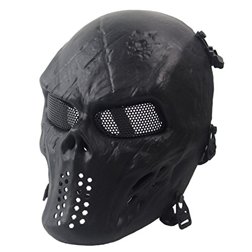 Euone Airsoft Paintball Full Face Skull Skeleton CS Mask Tactical Military Halloween (Black)