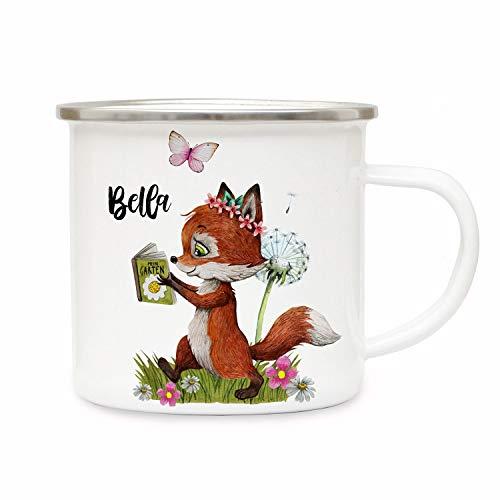 ilka parey wandtattoo-welt Emaillebecher Becher Tasse Camping Fuchs Füchschen mit Buch & Wunschname Name Kaffeetasse Geschenk eb367