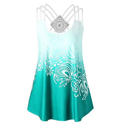 HGWXX7 Women Loose Solid Cross Bandages Sleeveless Casual Blouse Vest Tank Tops (XL, X-Green)