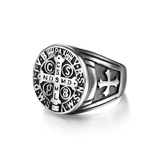 Tribal Spirit Steel Ring Edelstahl Benedikt Kreuz Vatikan Siegelring Herrenring RingSize 60 (19.1)