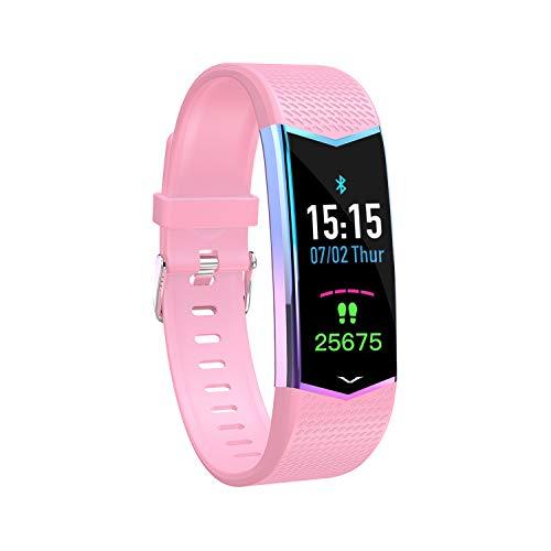 HQHOME Fitness Armband mit Pulsmesser, Fitness Tracker Farbbildschirm Fitness Uhr Aktivitätstracker Schrittzähler Uhr Smartwatch Damen Herren Anruf SMS Beachten für iOS Android Handy