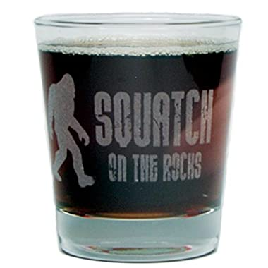Bigfoot  Squatch On The Rocks  - Engraved Hi-Ball Rocks Glass - 13 Oz - Permanently Etched - Fun & Unique Gift!