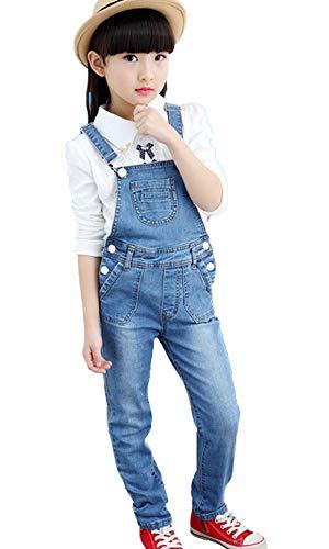 FAIRYRAIN Mädchen Kinder Denim Overall Jeanshose Mit Latz Denim Latzhosee Jeans Hosen Overall Lange Overall Jumpsuit 7-8 Jahre