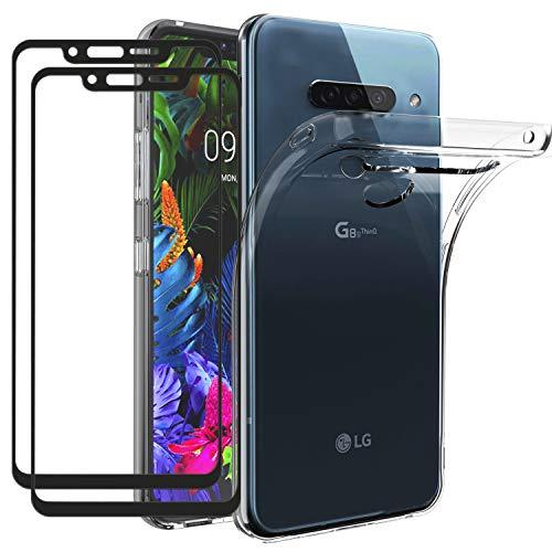 ivoler Hülle für LG G8s ThinQ mit 2 Stück Panzerglas [Volle Bedeckung], Klar Dünne Weiche TPU Silikon Transparent Stoßfest Schutzhülle Durchsichtige Handyhülle Kratzfest Hülle