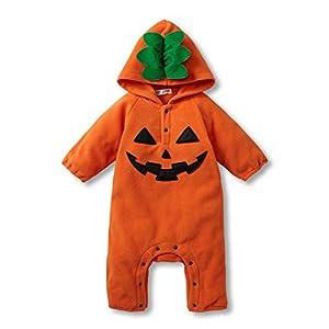 Fairy Baby かぼちゃ着ぐるみロンパース ベビーつなぎ 長袖 ふわふわ ハロウィン 95/80cm オレンジ