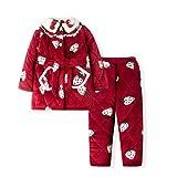 Diaod Niños Franela Pijamas Conjuntos Cálidas Coral Fleece Chicas Dibujos Animados Bordado Sleepwear Boys Winter Spleen Manga Larga Pijamas Nightgown (Size : 175cm)