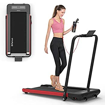 BiFanuo 2 in 1 Folding Treadmill Smart Walking Running Machine with Bluetooth Audio Speakers Installation-Free,Under Desk Treadmill for Home/Office Gym Cardio Fitness(Red)