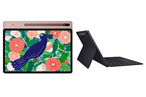 Samsung Galaxy Tab S7+, Android Tablet mit Stift, WiFi, 3 Kameras, großer 8.000 mAh Akku, 11,0 Zoll LTPS Display, 128 GB/6 GB RAM, Tablet in bronze + KeyboardCover (deutsch)