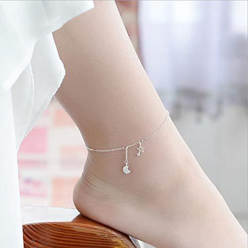 weichuang Tobillera de plata con diseño de estrella y luna para mujer, para fiesta (color metal: pulseras).