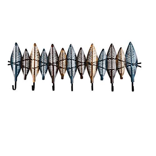 LSZ Perchero de Pared Percha de DecoracióN de Hierro Forjado Chino Creativo,con 7 Ganchos para Abrigo Sombrero Toalla Monedero Batas BañO Entrada,92 * 32cm
