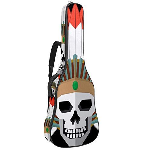 Funda para guitarra eléctrica acústica con diseño de calavera india americana de...