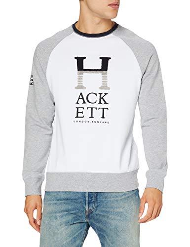 Hackett London Hackett Letters Crew Jersey, Blanco y Gris, M para Hombre