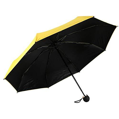 Sonnenschirm, Tragbarer Mini-UV-Schutzschirm, Ultraleichter, klappbarer verstellbarer Sonnenschirm, Gelb, 7,9 ''