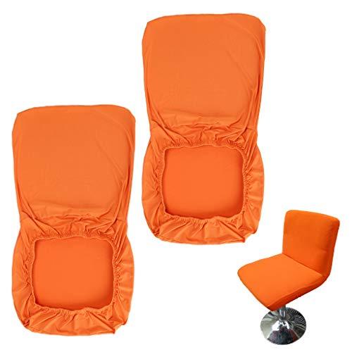 BSTKEY Juego de 2 fundas para taburetes de bar, color naranja con respaldo y funda elástica para silla de comedor giratoria corta y giratoria