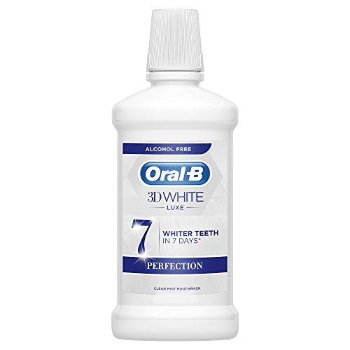 Oral-B 3D White Luxe Perfection Mouthwash, Alcohol Free Mouthwash, Clean Mint Flavour, 500 ml