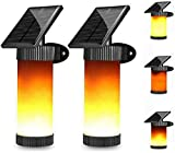 FEE-ZC Flashing Flame Solar Safety Light, 102 LED Flame Wall Light, Solar Flashlight, Outdoor, Garden, Passage, Driveway, Driveway Lighting and Viewing Lights (2 Packs)