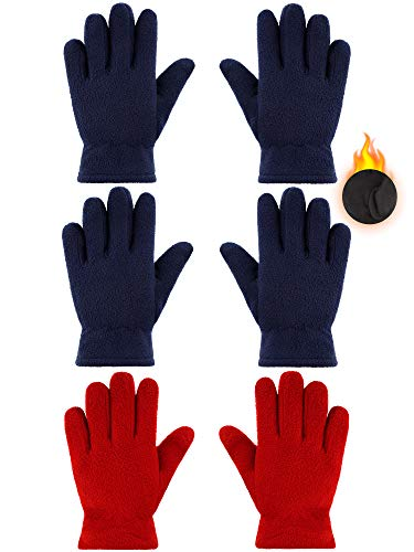 3 Pairs Kids Fleece Gloves Full Fingers Gloves Winter Soft Warm Gloves for Boys Girls Outdoors Activities Supplies (Red, Navy Blue, 5-8 Years)