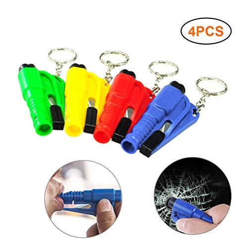 Newooh 3 in 1 Multifunctional Escape Tools Car Emergency Escape Rescue Tool Portable Car Key Ring Seat Belt Cutter Life-Saving Escape Hammer,4 Pcs Random Color