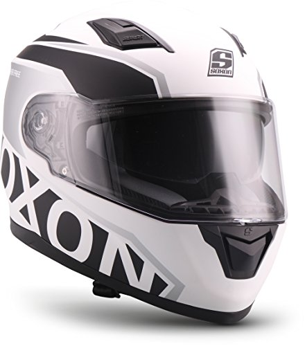 "SOXON® ST-1000 Race ""White"" · Integral-Helm · Full-Face Motorrad-Helm Roller-Helm Scooter-Helm Cruiser Sturz-Helm Sport Urban · ECE 22.05 Sonnenvisier Schnellverschluss Tasche L (59-60cm)"
