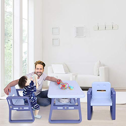 MoMi Kids Table and Chairs Set - Toddler Activity Chair Best for Toddlers Lego, Reading, Train, Art Play-Room (2 Childrens Seats with 1 Tables Sets) Little Kid Children Furniture Accessories Purple